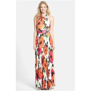 Eliza J Floral Print Chiffon Halter Maxi Dress 2